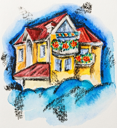 flowered: Fairy house with flowered balcony, watercolor with slate-pencil painting