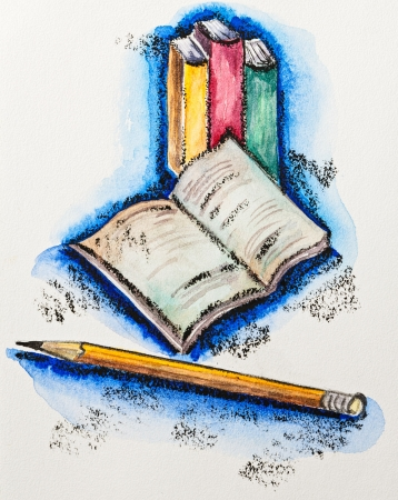 aquarel: Education school concept with books and pencil, watercolor with slate-pencil painting