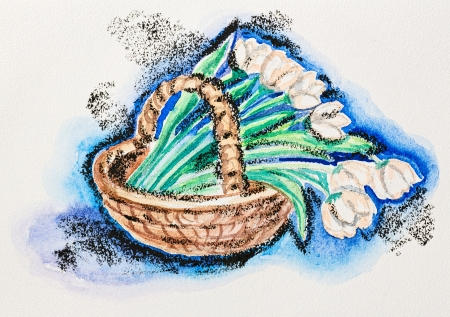 stilllife: Tender tulip flowers in wicker basket still life, watercolor with slate-pencil painting
