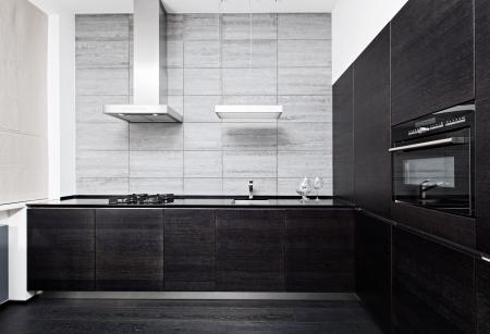 cuisine moderne: Une partie de l'int�rieur minimalisme cuisine moderne de style dans des tons monochromes Banque d'images