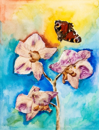 Orchid flower with butterfly, applique watercolor painting