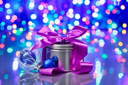 fancy box: New Year decorations composition with fancy box on bokeh background