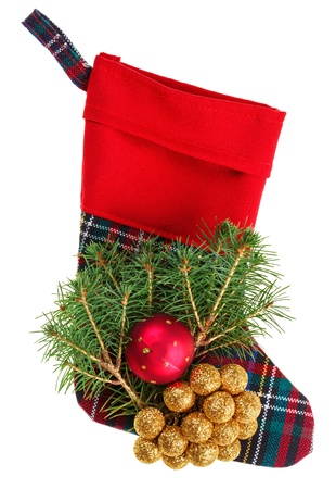 x mas: Christmas checkered stocking with fir branch, isolated on white