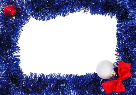Christmas decoration frame with blue tinsel photo