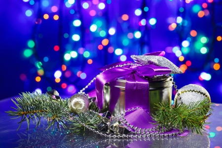 fancy box: New Year decorations with fancy box on circles bokeh background Stock Photo