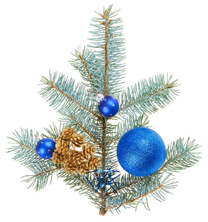 Blue christmas decoration balls on spruce branch, isolated on white photo