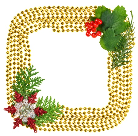 christmas beads garland decoration frame with spruce branch stock photo 15586875 - Christmas Beaded Garland Decorations