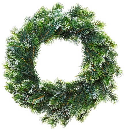 Christmas wreath, isolated on white Stock Photo
