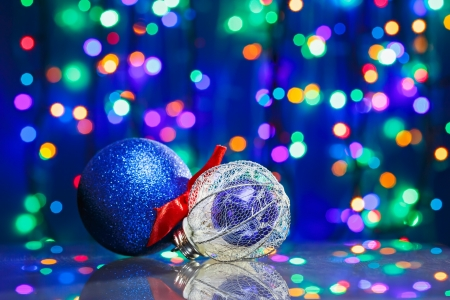 New Year decoration ball toys on circles bokeh background Stock Photo - 15766512