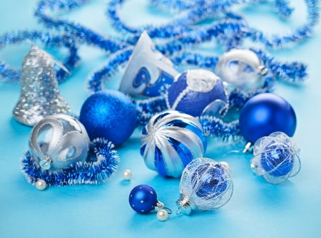 Christmas decorations still life in blue tones photo