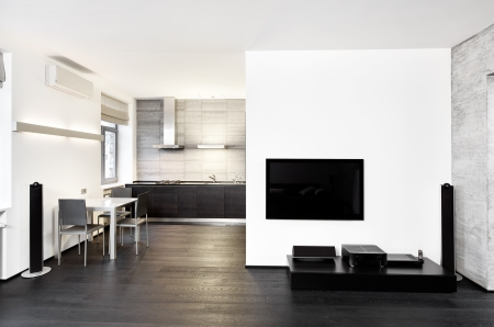 drawing room: Modern minimalism style kitchen and drawing room interior in monochrome tones