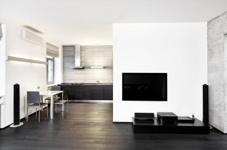 monochroom: Moderne minimalisme stijl keuken en salon interieur in zwart-wit tinten Stockfoto
