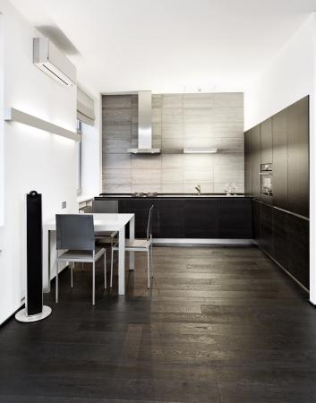 Minimalism: Modern minimalism style kitchen interior in monochrome tones