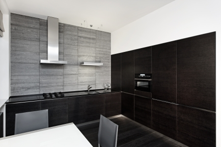 contemporary kitchen: Modern minimalism style kitchen interior in monochrome tones