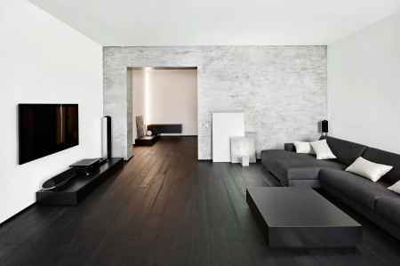 interior drawing: Modern minimalism style drawing-room interior