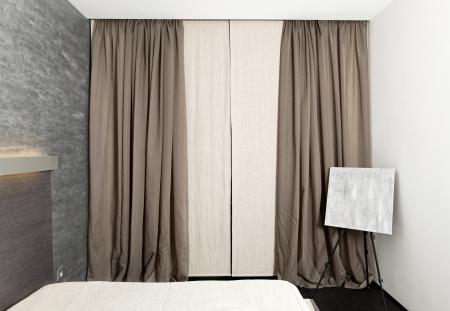 laconic: Modern minimalism style bedroom interior in monochrome tones