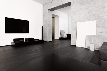 drawing room: Modern minimalism style drawing-room interior in black and white tones