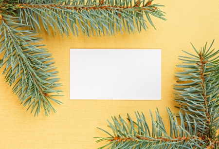 Christmas fir branches framework and empty card on yellow background photo