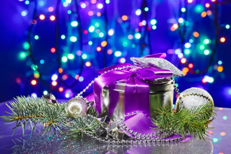 Christmas  decorations with fancy box on circles bokeh background Stock Photo - 16434312