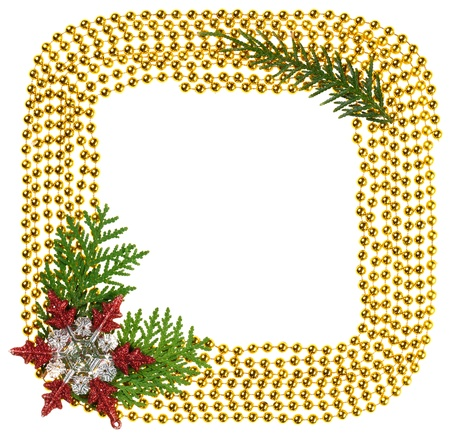 Christmas beads garland decoration framework with thuja branch Stock Photo - 16434297
