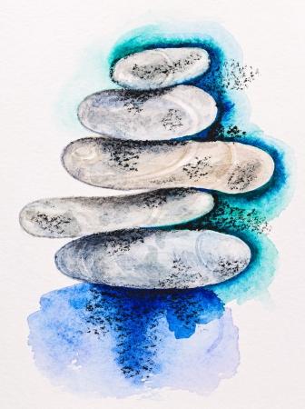 aquarel: Pebble stones heap harmony symbol, watercolor with slate-pencil painting Stock Photo