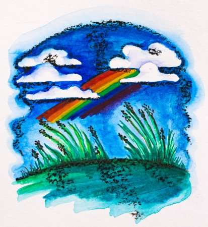 aquarel: Rainbow over green meadow, watercolor with slate-pencil painting Stock Photo