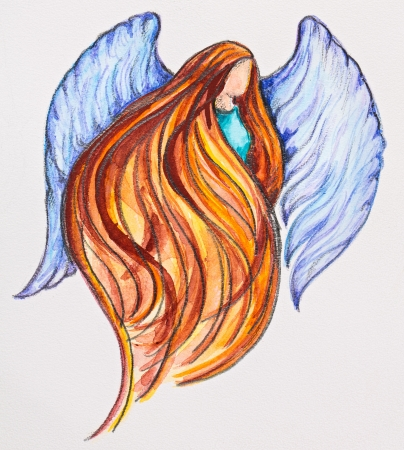 Redhead Angel, watercolor with slate-pencil painting photo