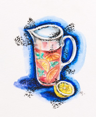 Jug with lemonade and lemon still life, watercolor with slate-pencil painting photo
