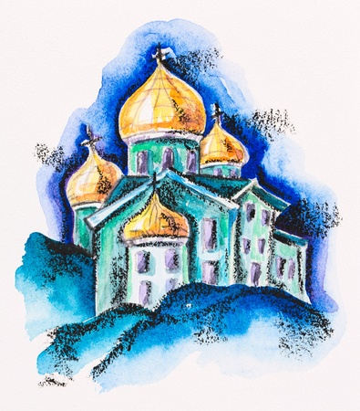 cupola: Temple building with golden cupola, watercolor with slate-pencil painting