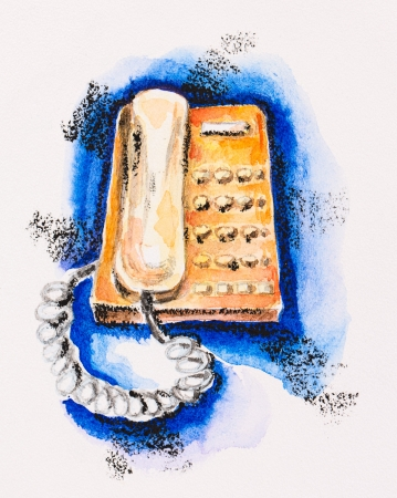 aquarel: Orange push-button telephone on blue, watercolor with slate-pencil painting Stock Photo