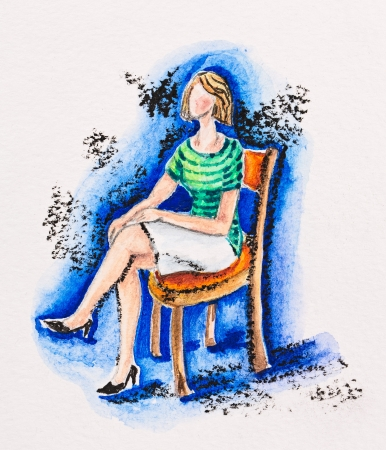 Woman sitting on a chair, watercolor with slate-pencil painting Stock Photo - 16536789