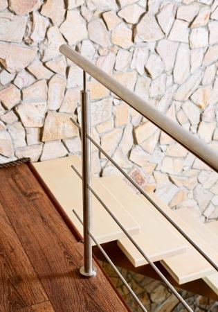 postmodern: Modern style staircase ashlar wall and, interior detail Stock Photo