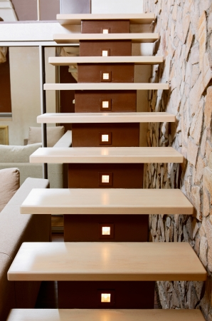 upstairs: Modern style staircase and ashlar wall, interior detail