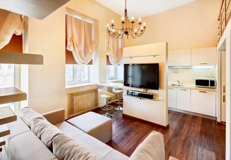 wengue: Estilo moderno minimalismo sal�n interior con lcd TV en tonos pastel