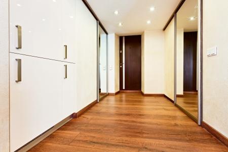 wengue: Estilo moderno minimalista pasillo interior con armario de puertas correderas espejo