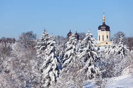 Beautiful winter landscape with snow covered firs and old\ church