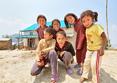 penury: NAGARKOT, NEPAL - APRIL 5  Portrait of unidentified playful Nepalese children on April 5, 2009 in Nagarkot Village, Kathmandu, Central Region, Nepal