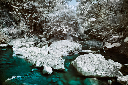 infrared: Mountain river with stones infrared  IR  landscape