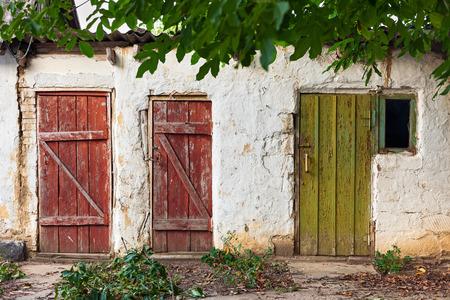 barn door: Three old wooden plank vintage doors