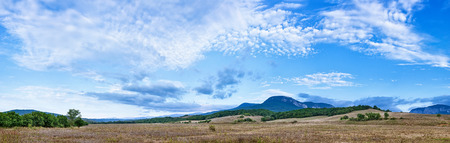 fleecy: Beautiful landscape panorama with fleecy clouds sky over Belbek canyon in Crimea