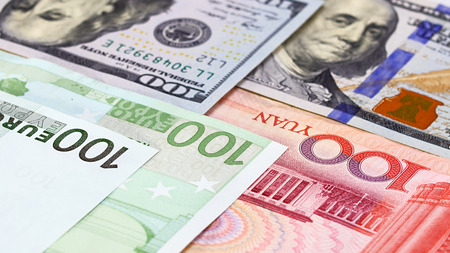 rmb: Main word currency Yuan, US Dollar and Euro bank notes concept business background