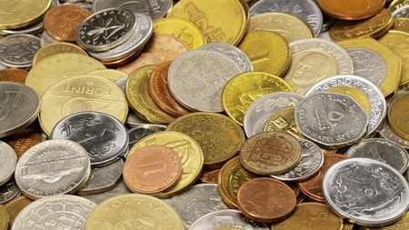 infinitely: Many different coins collection background