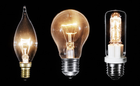 glower: Collage of 3 Edison lamps glowing over black background, macro view