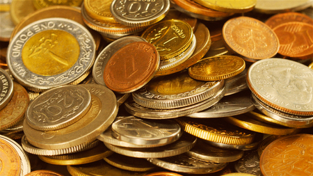 infinitely: Golden different coins collection background
