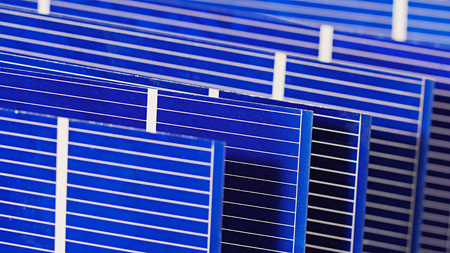 componentes: componentes c�lula del panel solar, vista detallada Foto de archivo