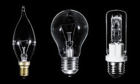 edison: Collage of 3 Edison lamps over black background, macro view Stock Photo
