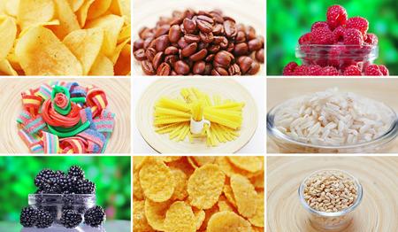 cafe bombon: Collage de muchos productos de ingredientes alimenticios Foto de archivo