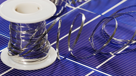 bare wire: Solar panel cell elements and wires assembling details, closeup view