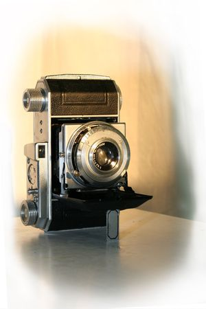 kodak: antiques ancient camera kodak retro Objective has flown down a cover an eyepiece film  folding Stock Photo