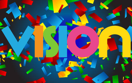 Vision letters vector word banner sign Ilustrace